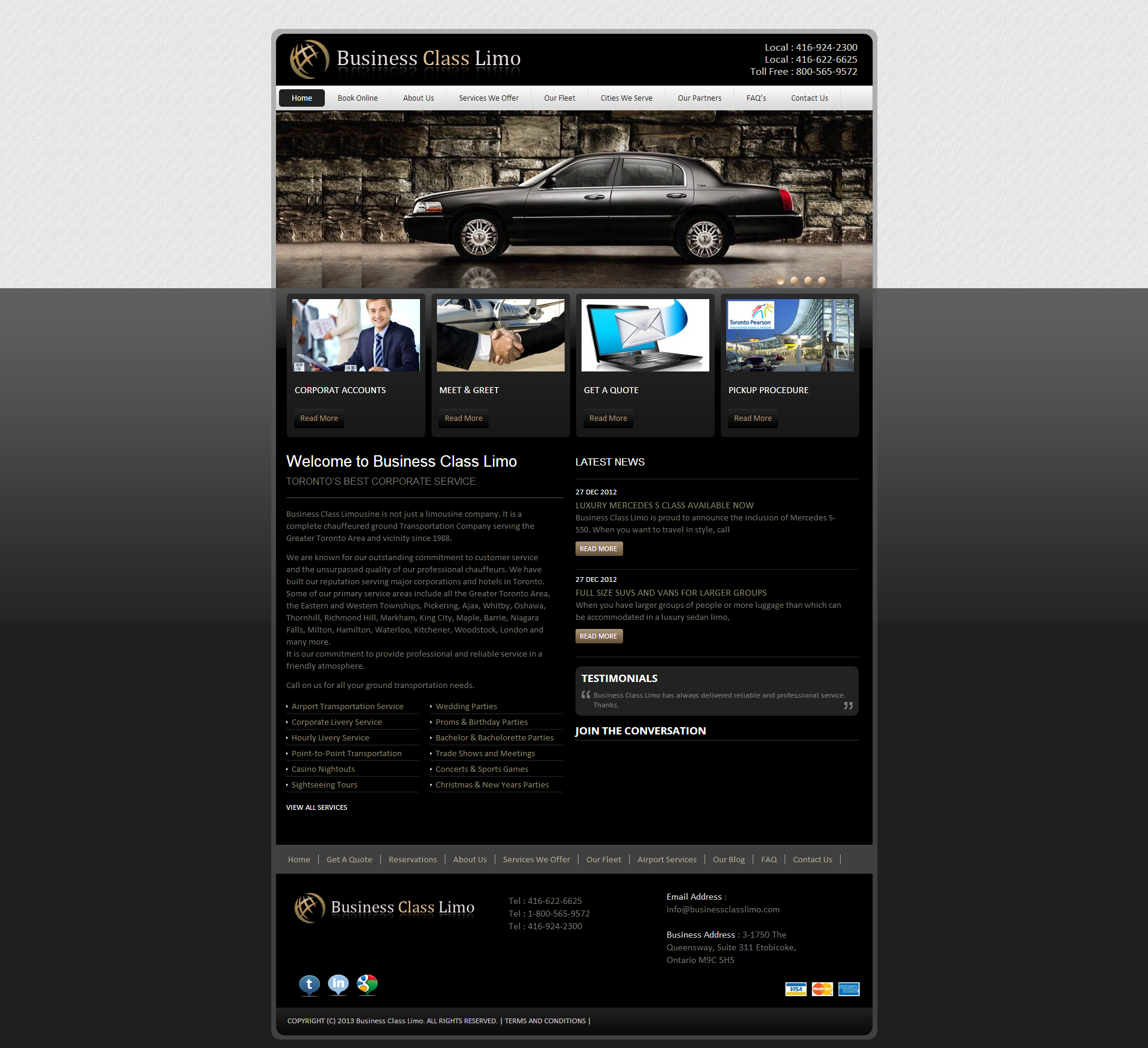 Creative and Professional Web design for Business Class Limo Company in Toronto by Adaptive Media